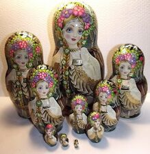 """Collectible matryoshka. Rare.10 pieces """" Lada"""",9.4 """",Author's hand-painted,"""