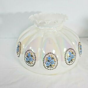 """Vintage Hurricane Lamp Glass Shade Lusterware Floral Accent X large 14"""" fitter"""