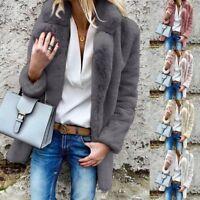 Women Winter Fluffy Fleece Open Coat Jacket Warm Soft Cardigans Tops Outerwear