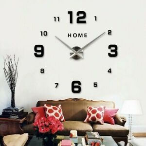 Modern DIY Large Wall Clock 3d Wall Sticker Frameless Watch Home Room Decor #7