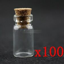 100x Fashion Mini DIY Wishing Glasflasche Glasfläschchen Phiolen Jars mit Korken