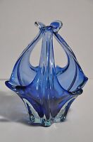 "VINTAGE MURANO SOMMERSO BLUE CASED 7"" ART GLASS FREEFORM SCULPTURE VERY RETRO"