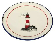 4 Pieces Plate -tonkeramik- Emaille-Optik, Shabby, Cottage 20 CM Red/White