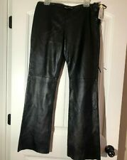 DKNY Jeans Womens Juniors 11 Black Genuine Leather Drawstring Pants w Lining NWT