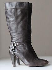 Karen Millen Brown Real Leather Cowboy Western Shoes Boots Heels UK 7 EU 40