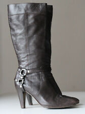 Karen Millen Brown Real Leather Cowboy Western Shoes Boots Heels UK 7 / EUR 40