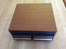 2 Drawer Wooden Audio Cassette Storage Box / Case Holds 22