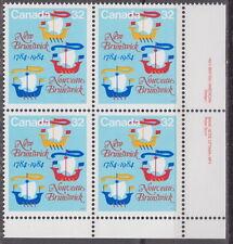 CANADA #1014 32¢ New Brunswick Bicentennial LR Plate Block MNH