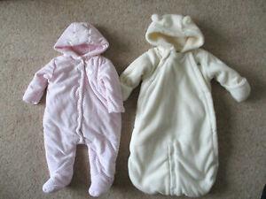Baby Girls warm Pramsuits X 2 GAP cream MOTHERCARE pink aged 3-6 months