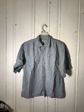 THE BLACK DOG MENS BUTTON FRONT SHIRT BLUE CHECK LARGE SHORT SLEEVE