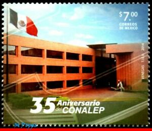 2921 MEXICO 2014 CONALEP, 35th ANNIV. OF THE FOUNDATION, FLAG, ARCHITECTURE, MNH