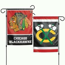 """CHICAGO BLACKHAWKS 2 SIDED GARDEN FLAG 12""""X18"""" YARD BANNER OUTDOOR RATED"""