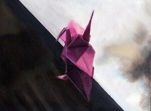 "Framed Original Oil Painting, ""Origami Crane"", Oil on Board (12x16"") Modern Art"