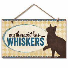 Retro Wooden Sign Wall Plaque My Therapist Has Whiskers Kitty Cat Kitten