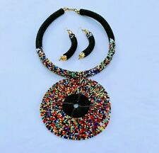 African Handmade round Maasai Beaded Necklace pendant Earrings set Black New