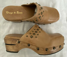Diego di Lucca Brazil Womens Tan Leather Clogs Mules Studded Stitched US 6 EU 36