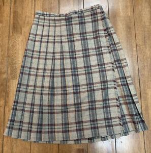 """Vintage Flannel Plaid Skirt Gordon of Philadelphia Wool Sz 16 32"""" Brown Pleated"""