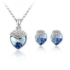 18K WHITE GOLD PLATED GENUINE SAPPHIRE BLUE CUBIC ZIRCONIA HEART JEWELLERY SET