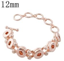 Rose Gold Six 12mm Mini Snap Charms Toggle Clasp Bracelet For Ginger Snaps