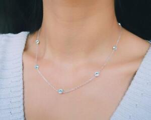 """Delicate Blue Aquamarine By The Yard Station 18""""Necklace in 18K White Gold Over"""