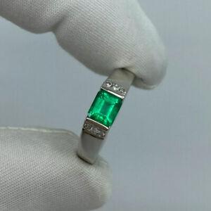 FINE Vivid Green Colombian Emerald & Diamond Platinum Band Ring