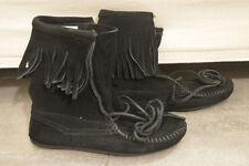 Stivaletti camoscio neri frange MINNETONKA suede black fringe boots UK3,5 EU36,5