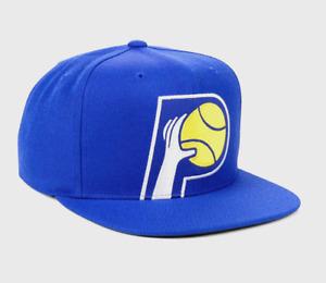 MITCHELL & NESS INDIANA PACERS NBA BLUE YELLOW RETRO LOGO SNAPBACK HAT CAP NWT