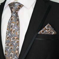 Classic Paisley Gray Men's 100% Silk JACQUARD WOVEN Neck Tie Pocket Square Set