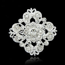 Diamante Rhinestone Crystal Silver Tone Square Flower Brooch Pin Wedding Prom