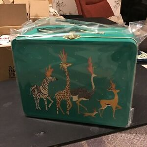Sarah Miller Jungle Animals Lunchbox, turquoise ,19.5x15.5x7.5cms
