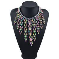 Fashion Women Pendant Luxury Crystal Tassel Bib Statement Choker Necklace