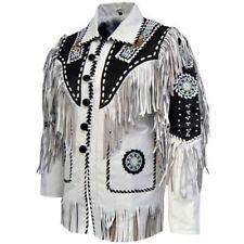 Men Western Leather Jacket Wear Fringes Beads Native American Cowboy Coat 1980's