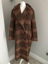 M&S Autograph Ladies Long Coat Size Uk 22 Wool Blend BNWT £119 Check  Camel Mix