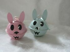 Vintage Rabbit  Shaped Metal Easter Bell Ornaments set of 2 Pink and Blue