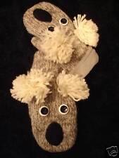 KOALA MITTENS knit ADULT costume puppet FLC LINED pom ears gray grey mens womens