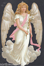 ANGEL CHERUB LILLY WINGS FLORAL CARD MOURNING EMBOSSED GERMAN PAPER SCRAP CARD