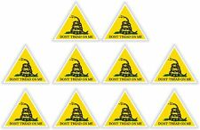 10x Triangle Vinyl Stickers Don't Tread On Me Gadsden decal Liberty Death Snake