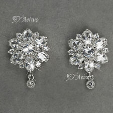 9K GF 9CT WHITE GOLD GF SIMULATED DIAMOND SPARKLING FLOWER STUD EARRINGS