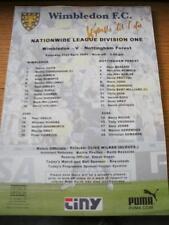 21/04/2001 Colour Teamsheet: Wimbledon v Nottingham Forest (Folded, Writing On F