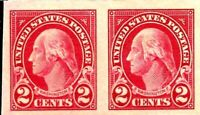 ORLEY STAMP SUS Stamp, Scott #577 Washington 2c imperf pair 1925 XF/Superb MNH.