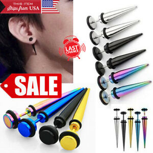 Pair 8mm Stainless Steel Fake Cheater Ear Taper Spike Stretcher Illusion Earring