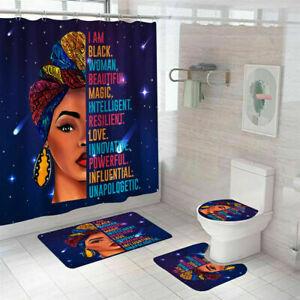 African Woman Shower Curtain Thicken Bathroom Rug Set Bath Mat Toilet Lid Cover
