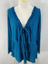 Sweet Pea Womens Blouse Solid Blue Turquoise Ruffles Long Sleeves Nylon XL