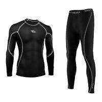 Mens Compression Armour Base Layer Top Skin Fit Shirt + Leggings Set Grey