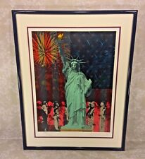 "Vtg Rick Rush Signed Ltd Ed Lithograph ""Drawn by the Flame: Statue of Liberty"" 1"