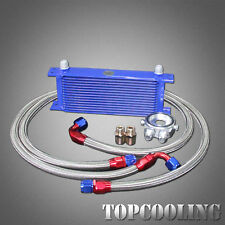 15 Row Engine Oil Cooler + AN10 Female Sandwich Plate Adapter + Hose Fitting Kit