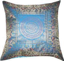 """Turquoise Blue 26"""" x 26""""  Mandala Cushion Cover Brocade Euro Sham Pillow Throw"""