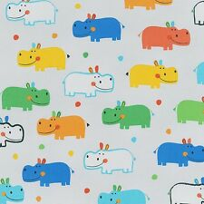 Fabric Hungry Hippos Primary on Grey Cotton by the 1/4 yard BIN