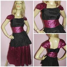 80s BLACK PINK STRIPED ALICE PROM PARTY DRESS 10 S 1980s WONDERLAND KITSCH