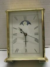Vintage Chelsea Embassy Brass Clock Quartz Presentation Moon Phase Works Well